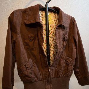 Wet Seal Brown Full Zip 3/4 Sleeve Jacket Large